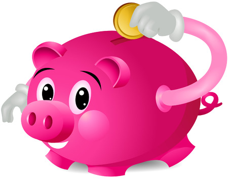 inserting: Piggy Bank Saving with clipping path Illustration
