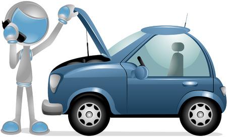 representations: Vector 3D Robot: Car Trouble Vectores