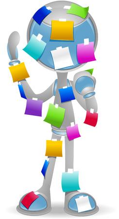 stickies: 3D Vector Robot: Stickies  Illustration
