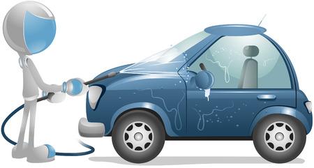 hoses: 3D Vector Robot: Washing Car Illustration