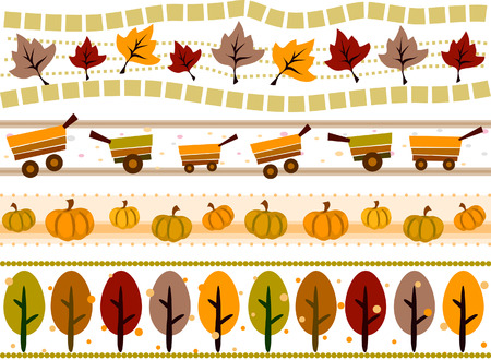 Autumn Border Set with Clipping Path Stock Vector - 5873336