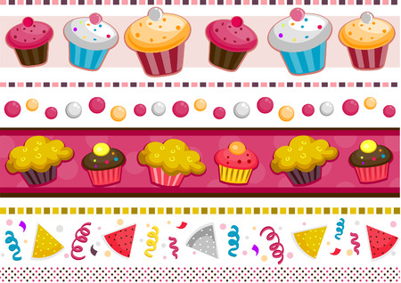 Party Border Set with Clipping Path Stock Vector - 5873337