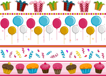 Party Border Set with Clipping Path Stock Vector - 5873334