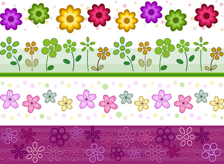 Floral Border Set with Clipping Path