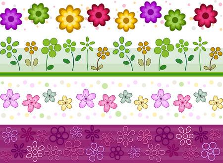 bordure floral: Set de fronti�res floral avec coupure Path