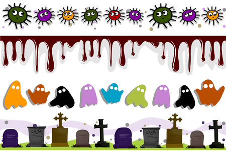 Halloween Border Set with CLipping Path Vector
