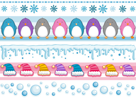 Winter Border Set with Clipping Path Vector