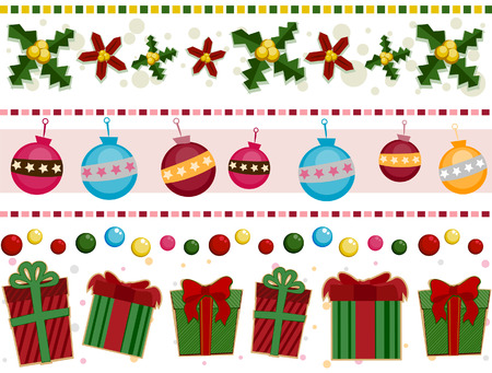 at the edge of: Christmas Border Set with Clipping Path Illustration
