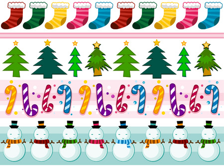 Christmas Border Set with Clipping Path Stock Vector - 5873325