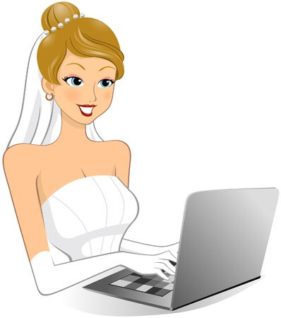 Bride Internet ShoppingSurfing  Vector