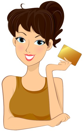 Girl holding Gold Card (MembershipCredit card) Vector