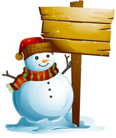 Snowman with Blank Board