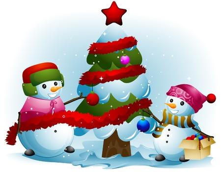 Snowmen decorar el árbol de Navidad