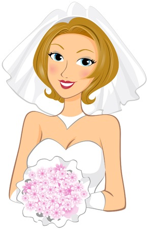 cartoon bouquet: Bride holding bouquet