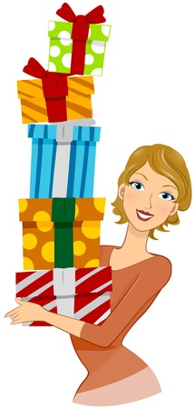 Girl carrying Gifts Vector