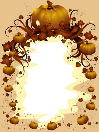 vine art: Autumn Frame with Pumpkins and Maple leaves