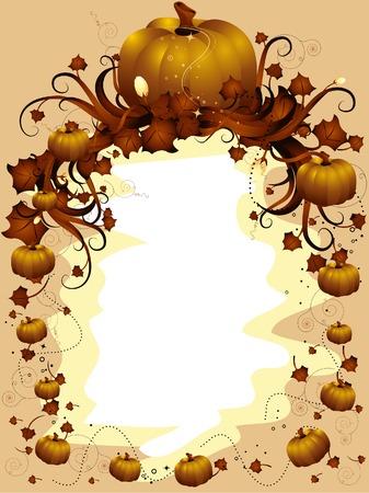 hojas de maple: Hojas de oto�o Frame con Pumpkins y Arce