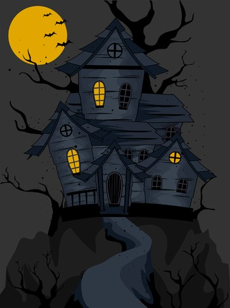 Haunted House on top of hill Vector