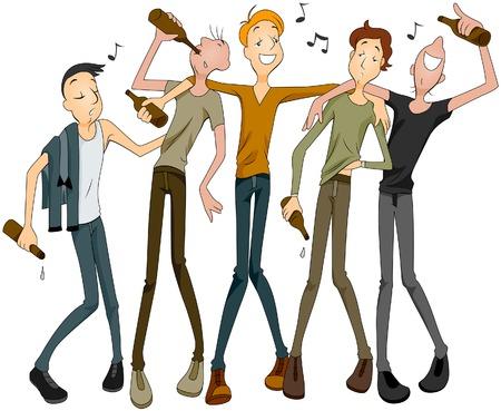 drunk cartoon: Drunk Men