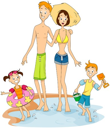Family at the beach Stock Vector - 5938659