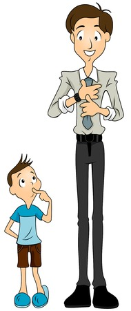 son of man: Child looking at his father getting ready for work