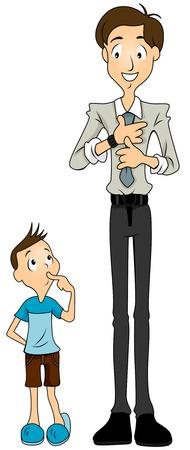 ser padres: Ni�o mirando a su padre, prepar�ndose para el trabajo  Vectores