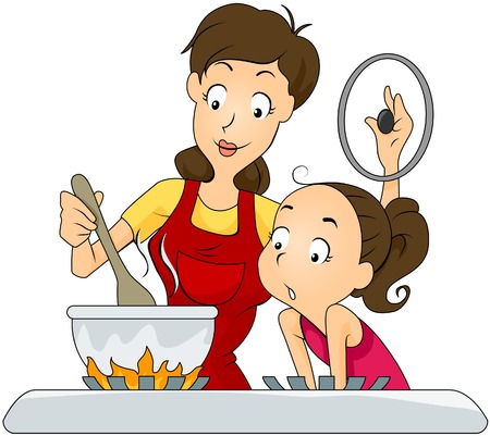 mom daughter: Mother and Daughter at the Kitchen