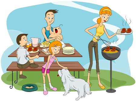 Family Outddor Barbeque Vector