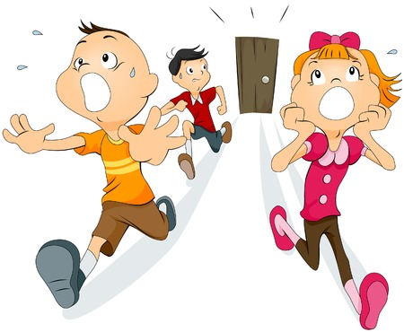 Scared Kids  Vector
