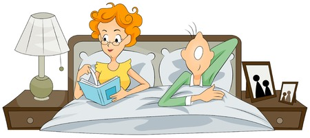 couple in bed: Couple in Bed w Illustration