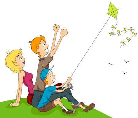 parents and children: Family Flying Kite