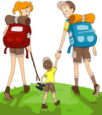 Familia de senderismo  Ilustración de vector