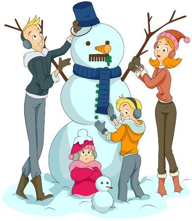 parent child: Family building Snowman  Illustration