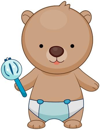 grzechotka: Niedźwiedź Baby  Ilustracja