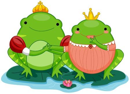 principe rana: Rana pr�ncipe y la princesa  Vectores