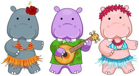 swimsuit: Hawaiian Hippos  Illustration