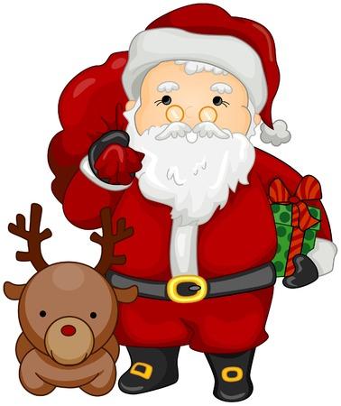 red nosed reindeer: Santa Claus and Reindeer Illustration