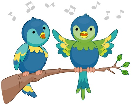 cartoon bird: Singing Birds