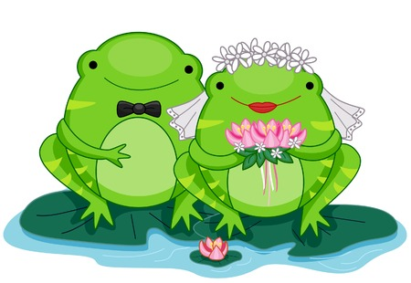 frog in love: Bride and Groom Frogs