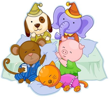 cat sleeping: Animal Pajama Party