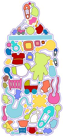 rattle: Baby Icons Stock Photo