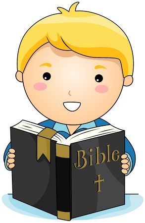 bible study: Boy reading Bible  Stock Photo