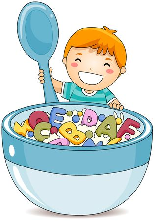 cereal bowl: Boy eating Alphabet Cereals  Stock Photo