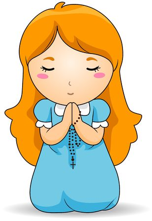 christian young: Girl praying the Rosary  Stock Photo