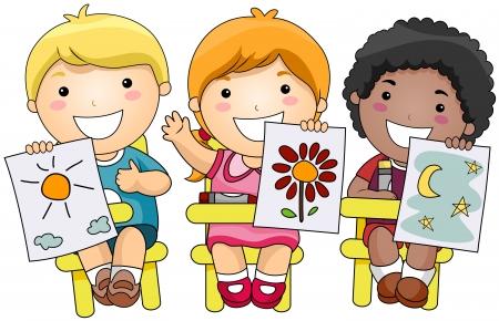 art activity: Children showing artworks