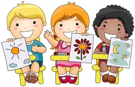 colouring: Children showing artworks