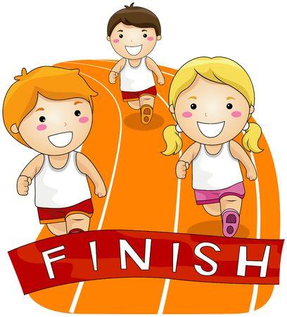 enfant qui court: Enfants courir dans une course