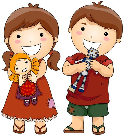 poor people: Unfortunate Children holding New Toys  Stock Photo