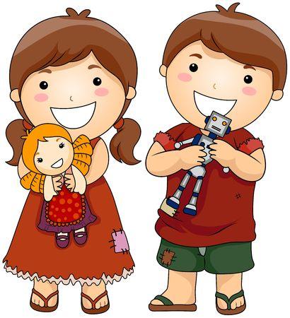 unfortunate: Unfortunate Children holding New Toys  Stock Photo