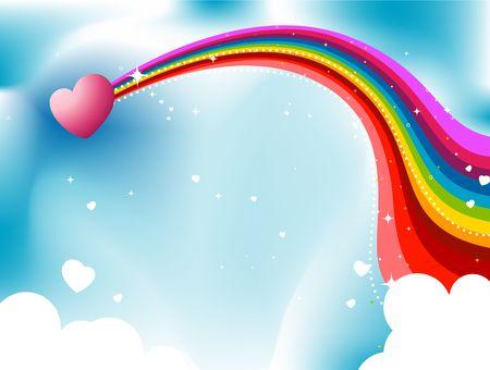 love cloud: Heart Rainbow Trail in the Skies Design